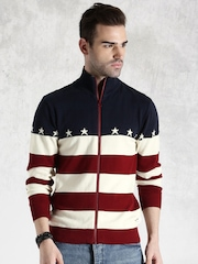 Roadster Cream-Coloured & Maroon Striped Sweater