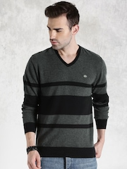 Roadster Black & Charcoal Grey Striped Sweater