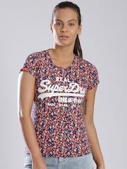 Superdry Navy & Orange Floral Print T-shirt