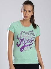 Superdry Green Melange Printed Shimmer T-shirt