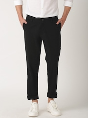 ETHER Black Casual Slim Fit Trousers