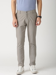 ETHER Grey Linen Slim Fit Trousers