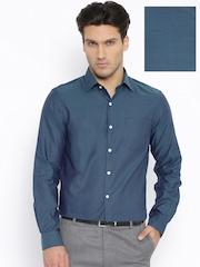 Arrow Teal Blue Patterned Slim Formal Shirt