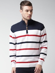 Mast & Harbour Men Navy & White Striped Sweater