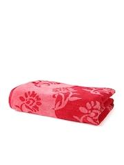 Turkish Bath Red Floral Patterned 100% Cotton Bath Towel