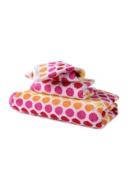Turkish Bath Pink Dot Patterned Cotton Set of 3 Towels