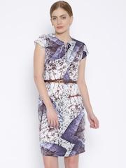 Park Avenue Woman Purple & Off-White Printed Sheath Dress