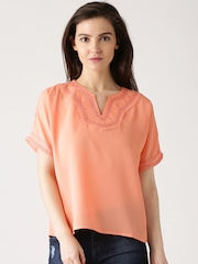 DressBerry Peach-Coloured Polyester Top