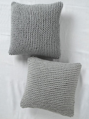 SWHF Grey Set of 2 Knitted 18'' x 18'' Square Cushion Covers