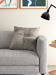 """SWHF Grey Single Leather 18"""" x 18"""" Square Cushion Cover"""