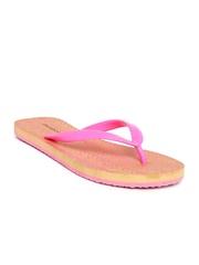 DressBerry Women Pink & Beige Printed Flip-Flops