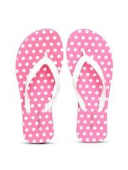 DressBerry Women White & Pink Polka Dot Print Flip-Flops