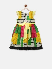 Happy Face Girls Yellow & Pink Printed Fit & Flare Dress