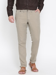 Being Human Clothing Biege Linen Casual Trousers