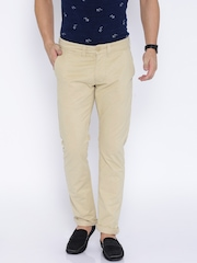 Being Human Clothing Beige Casual Trousers