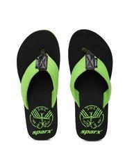 Sparx Men Green & Black Printed Flip-Flops