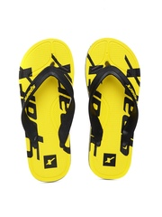 Sparx Men Black & Yellow Printed Flip-Flops