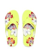 Sparx Women Yellow Printed Flip-Flops