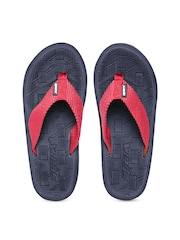 Sparx Men Pink & Navy Textured Flip-Flops