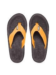 Sparx Men Orange & Coffee Brown Textured Flip-Flops