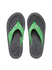 Sparx Men Green & Grey Textured Flip-Flops