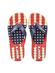 Sparx Men Navy & Red Printed Flip-Flops