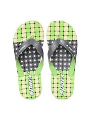 Sparx Men Grey & Green Printed Flip-Flops