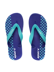 Sparx Men Sea Green & Blue Printed Textured Flip-Flops