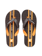 Sparx Men Dark Brown Honeycomb Textured Flip-Flops
