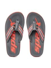Sparx Men Grey Branded Flip-Flops