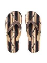 Sparx Men Brown & Black Printed Flip-Flops