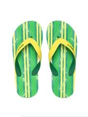 Sparx Men Green & Yellow Textured Flip-Flops