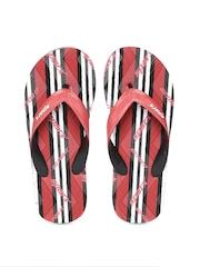 Sparx Men Red & White Textured Striped Flip-Flops