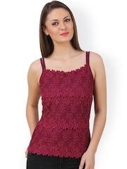 Texco Maroon Lace Top