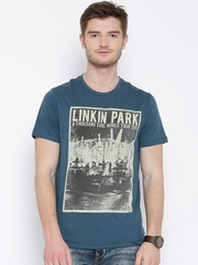LINKIN PARK Teal Blue Printed T-shirt