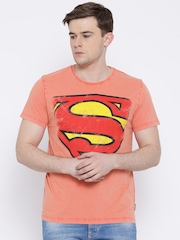 Superman Peach-Coloured Printed T-shirt
