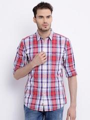 Wrangler Red & Blue Checked Casual Shirt