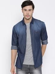 Wrangler Blue Washed Denim Casual Shirt