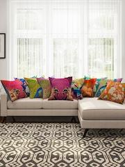 "SEJ by Nisha Gupta Multicoloured 16"" x 16"" Set of 10 Square Cushion Covers"