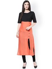 Pannkh Black & Coral Orange Kurta