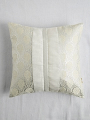 ANS Off-White & Silver-Coloured Single Brocade Motif 16'' x 16'' Square Cushion Cover