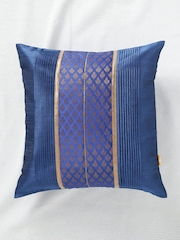 ANS Blue Single Brocade 16'' x 16'' Square Cushion Cover