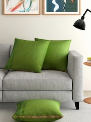 ANS Green Dual-Toned Set of 3 16'' x 16'' Square Cushion Covers