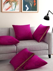 ANS Purple Dual-Toned Set of 5 16'' x 16'' Square Cushion Covers