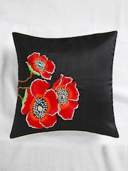 ANS Black Single Floral Embroidered 16'' x 16'' Square Cushion Cover