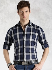 Roadster Navy & White Checked Casual Shirt
