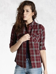 Roadster Maroon Checked Shirt