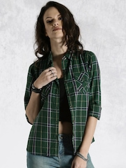 Roadster Green Checked Casual Shirt