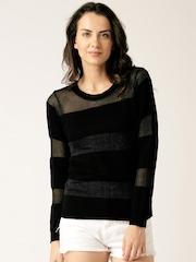 DressBerry Black & Grey Striped Shimmer Top