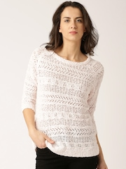 DressBerry Pink & White Open-Knit Top